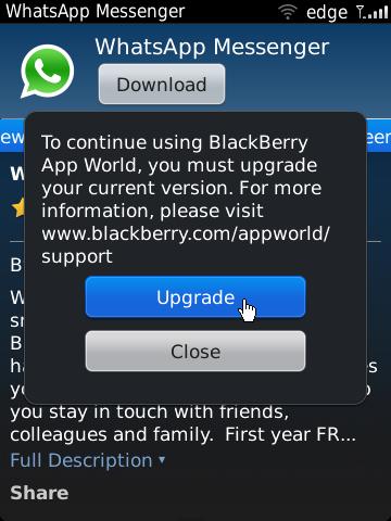 Note: Bila tidak ada konfirmasi Upgrade BlackBerry App World , maka ...